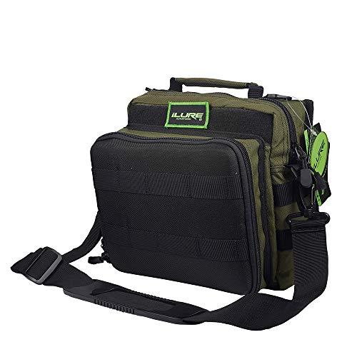 Dr.Fish Lure Bag Tackle Storage Bag Water-Resistant 900D Nylon with Lure Binders Shoulder Bag Grab Bag Sling Bag Outdoor Cycling Boating Fishing Dark Green