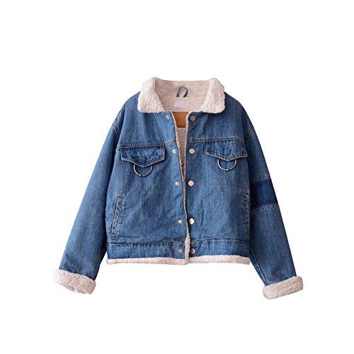 corderos El hechizo camiseta lana larga de dril chaqueta suelto invierno algodón de de algodón azul manga femenina Círculo color de de de qwItnR