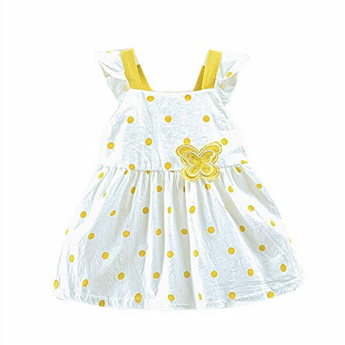 WOCACHI Toddler Kid Baby Girls Dot Printed Butterfly Bow Party Princess Dress Clothing 0-3M 0-6M 3-6 Mos 6-9M 9-12M 6-12M 12-18M 18-24M 0-3T 0-24 Months 2 Years and Up 2T 3T
