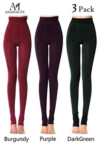 Price comparison product image Anmengte Winter Womens Black Warm Velet Stretchy High Waist Elastics Leggings (FBA) (S / M / L,  Glossy05)