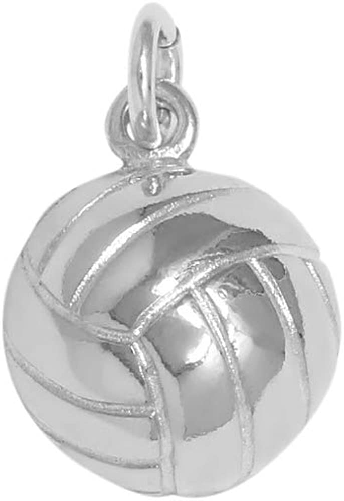 Sterling Silver 3D Female Vollyball Player Sports Dangle Charm Bead For Bead Charm Bracelet