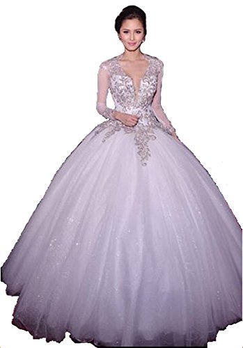 Lovelybride Fabulous Sweetheart with Beads and Pearls Wedding Dress for Bride (4, Ivory)