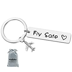 """Fly Safe Keychain: """"Fly Safe"""". Simple statements but full of love to someone who you care. Make sure your loved ones have this Fly Safe Keychains to take with them on their fly! Pilot Gift: This airplane keychain makes the perfect gift for th..."""
