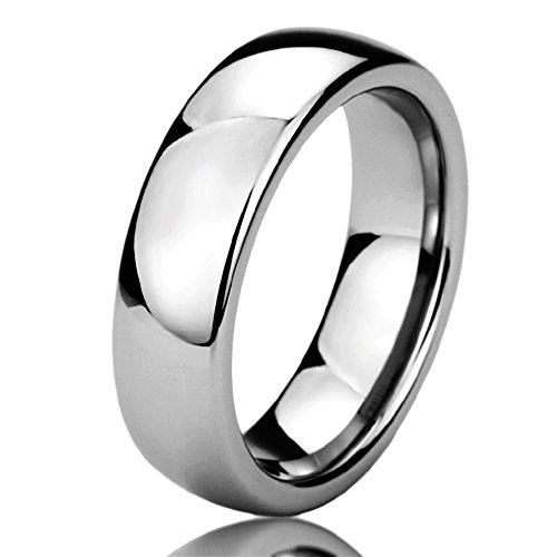 Free Engraving Personalized Titanium Comfort Fit Wedding Band Ring 6mm High Polished Classy Domed Ring