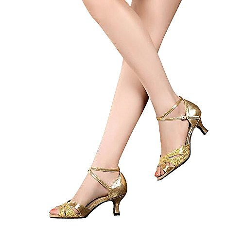 nice Women's Latin dance shoes with soft sole female Latin sandals Ballroom Dance Shoes (8 B(M) US, gold) save more