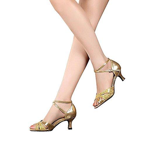 superpark Frauen Latin Dance Schuhe mit weicher Sohle Female Latin Sandalen Ballroom Dance Schuhe Gold