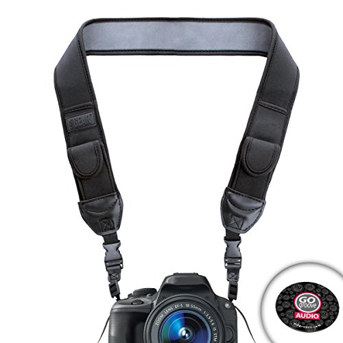 USA Gear Black DSLR Pentax Camera Anti-slip Neoprene Shoulder Neck Strap with Accessory Storage Pockets- Works with Pentax K-50 , K-500 , Q7 , K-30 , K-3 , K-5 II , K-5 , Q10 and More! *Includes Mouse Pad*