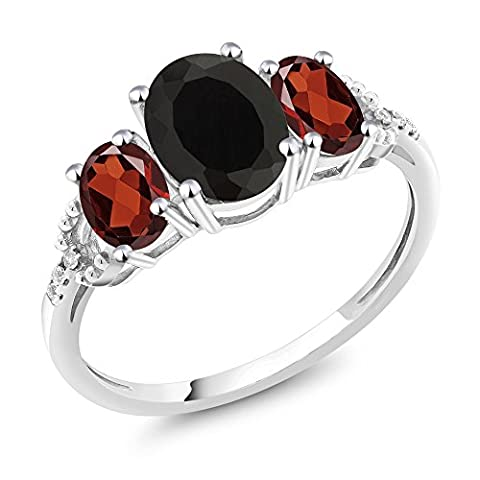 10K White Gold Diamond Accent Three-Stone Engagement Ring set with 2.30 Ct Oval Black Onyx Red - Set Oval Onyx Ring