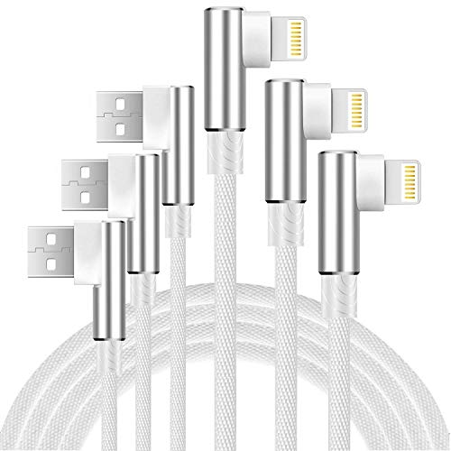 Boost 10FT Phone Charger Cable, 3-Pack 90 Degree Right Angled Data Line USB Chargers Ultra Gaming Angle Cord Compatible with iPhone 5/6/7/8/X, iPad and iPod- Silver