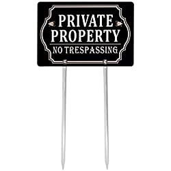 "Kichwit Private Property No Trespassing Sign Double Sided, Aluminum, All Metal Construction, Sign Measures 11.8"" x 7.9"", 14"" Long Metal Stakes Included"