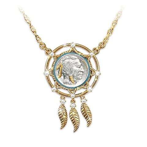 Noble Spirit Buffalo Nickel Dreamcatcher Necklace by The Bradford Exchange (Gold Buffalo Necklace)