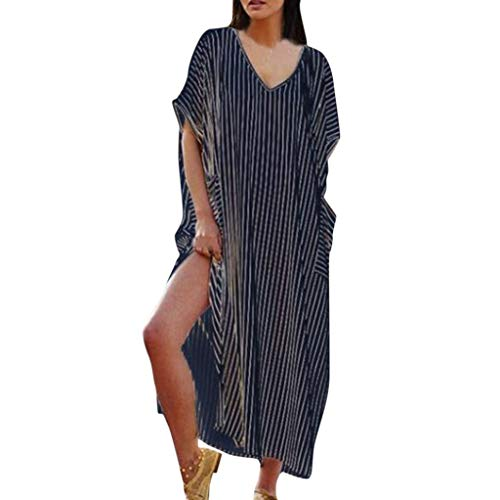 Maxi Dresses for Women V Neck Summer Dress Vintage Stripe Side Slit Loose Casual Beach Midi Dress with Pocket Blue