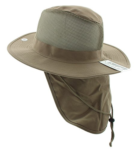 JFH GROUP Wide Brim Unisex Safari/Outback Summer Hat w/Neck Flap (Extra Large, Light Brown)