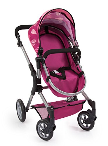 Amazon.com: Bayer Design 18147AA Dolls Pram City Neo with Changing Bag and Underneath Shopping Basket Convertable to A Pushchair, Bordeaux with Pattern: ...