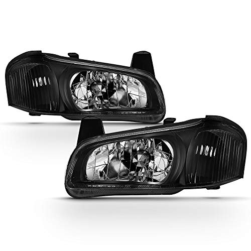 ACANII - For 2000-2001 Nissan Maxima Headlights Black JDM Headlamps Replacement 00-01 Driver & Passenger Side