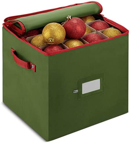 ZOBER Christmas Ornament Storage Box with Zippered Closure - Protect & Keeps Safe Up to 64 Holiday Ornaments & Xmas Decorations Accessories, Durable Nonwoven Ornament Storage Container, Two Handles