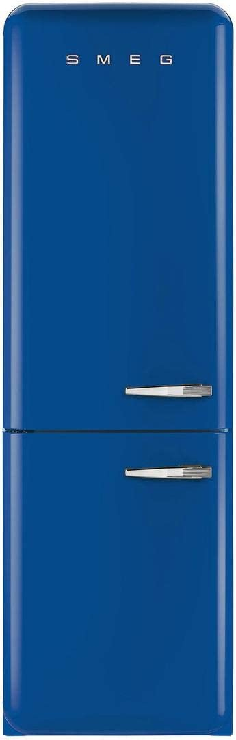 Smeg 50s Retro Style Series 24-Inch Freestanding 8.2 cu.ft. Refrigerator with 3.5 cu.ft. Freezer, 3 Glass Shelves, Crisper Drawer (Blue Left Hinge)