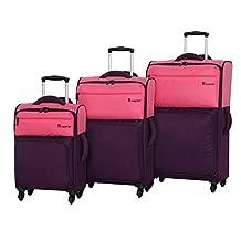 it luggage Duotone 4 Wheel 3 Piece Set, Sun Kissed Coral Top Half + Potent Purple Bottom Half