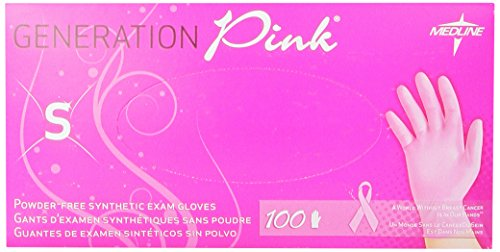 Medline Generation Pink 3G Synthetic Exam Gloves, Small, 100 Count