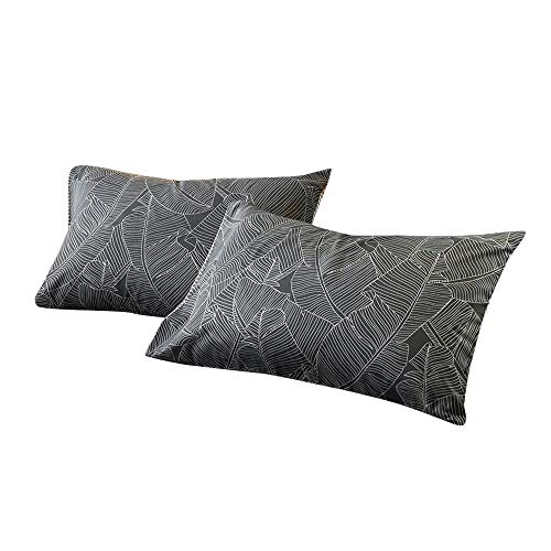 (VM VOUGEMARKET Bedding Cotton Pillowcases (Pack of 2)-100% Cotton Leaves Pattern Standard Pillow Covers with Envelope Closure End,20