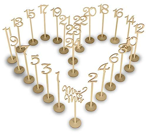 Wooden Wedding Table Numbers Set with thick base stands – Elegant banquet, birthday, catering, wedding, wedding reception, anniversary, party, home event place organizing pack ()