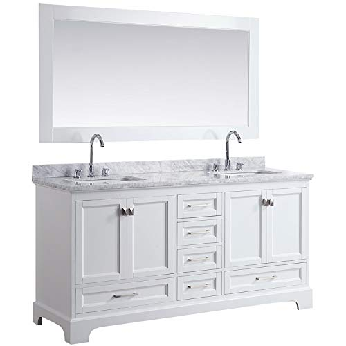 "LC72JWW Chole 72"" Double Sink Bathroom Vanity Set in White with Carrara Marble Top and Mirror,"