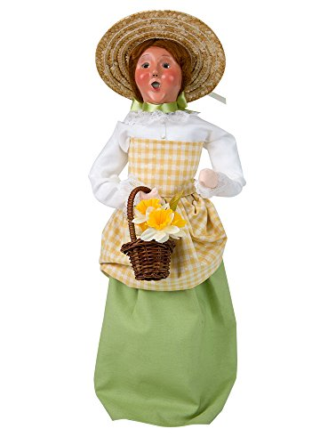 Byers' Choice Woman with Flowers Caroler Figurine #2001E from the Spring Collection (NEW 2018)