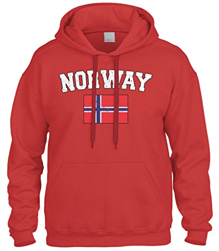 Cybertela Faded Distressed Norway Flag Sweatshirt Hoodie Hoody (Red, Large)