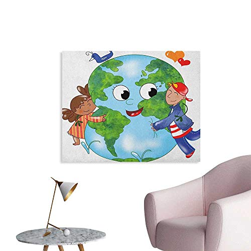- Anzhutwelve Earth Photographic Wallpaper Two Cute Kids Hugging Happy Planet Earth Bird and Hearts Embracing in Cartoon Style Funny Poster Multicolor W32 xL24
