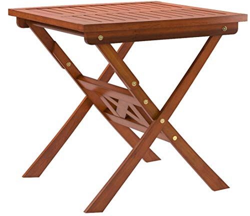 VIFAH V03 Outdoor Wood Folding Bistro Table,Natural Wood Finish 24 by 24 by 28-Inch