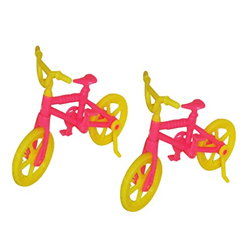 Dollhouse Barbie Dolls Plastic Bicycle Bike w. Kickstand Random Color 2pcs (Dollhouse Bicycle)