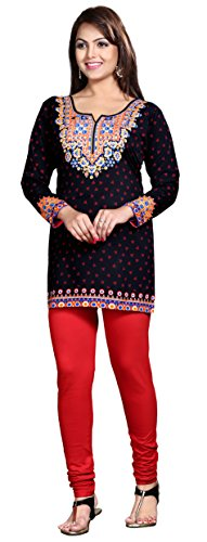 Kurti Top Short Tunic Womens Printed Blouse India Clothing (Black, XL)