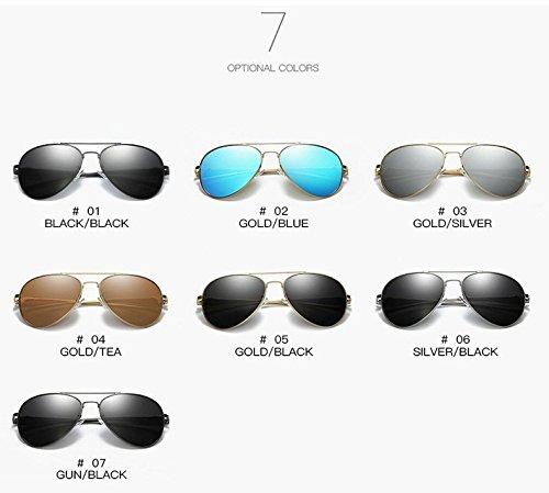 Objectif UV Femme pour Xinke 400 Lunettes Soleil en de polarisées aviateur 2 Miroir nbsp;Protection Homme métal XggqP7wx