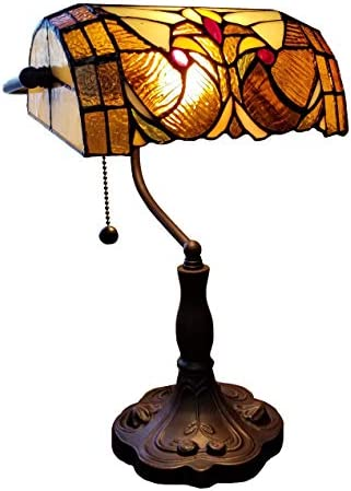 Amora Lighting Tiffany Style Table Lamp Banker Floral 13″ Tall Stained Glass Tan Brown Red Vintage Antique Light D cor Night Stand Living Room Bedroom Handmade Gift AM339TL10