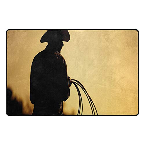 YOLIKA Non-Slip Area Rugs Cowboy with Lasso Silhouette at Small Town Rodeo Theme American USA Culture Floor Mat Living Room Bedroom Dinning Kitchen Carpets Doormats 2'x3'