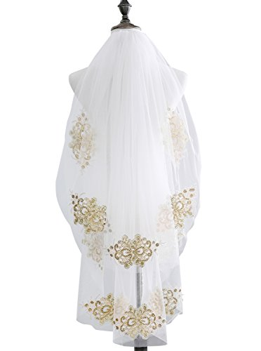 EllieHouse Women's 2 Tier Short Gold Lace Wedding Bridal Veil With Comb HD23 Ivory