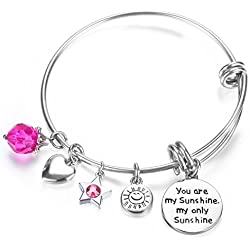 NaNa Chic Jewelry You are my sunshine, my only sunshine Charms Pendant Women Cute Expandable Wire Bangle Adjustable Bracelet(02-010)