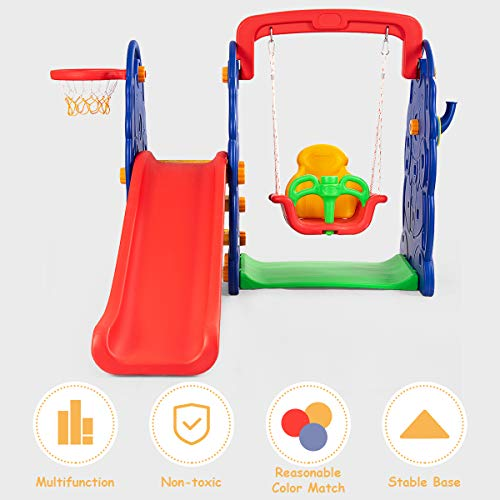 Costzon Toddler Climber and Swing Set, 4 in 1 Climber Slide Playset w/Basketball Hoop, Toss, Easy Climb Stairs, Kids Playset for Both Indoors & Backyard