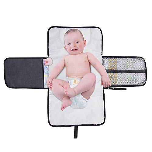 Portable Diaper Changing Pad Waterproof – 14″ x 23″ Foldable Mat with Head Cushion and Pockets Baby Infants Changing Station for Travel and Outside