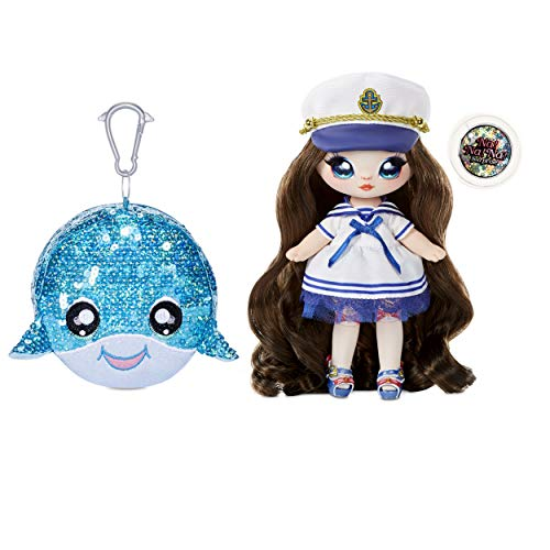 Na Na Na Surprise Muñeca de Moda 2 en 1 y Monedero con Pompón de Lentejuelas Brillantes Serie Sparkle – Sailor Blu…
