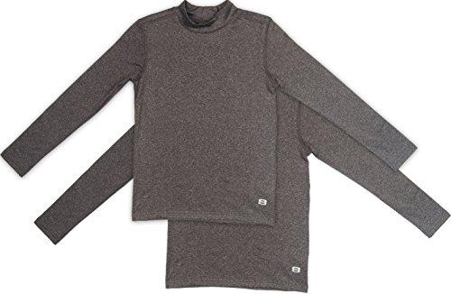 Boys Fleece Shirt (Layer 8 Boys (2-pack) Mock neck Fleece Lined Performance Base Layer shirt, Granite S)