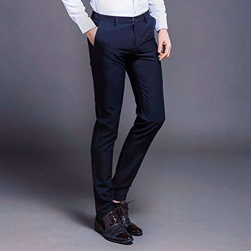 Miki Da Fashion New Cotton Men Pants Straight Spring and Summer Long Male Classic Business Casual Trousers Full Length Mid Blue 31