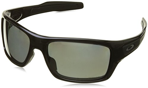 Oakley Men's OO9263 Turbine Rectangular Sunglasses, Polished Black/Prizm Black Polarized, 65 mm