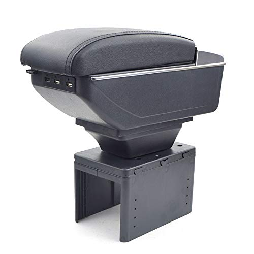 Oneuda Centre Console Storage Box for Toyota fj Cruiser Universal Armrest Retractable Car Accessories (Double Rise with USB)