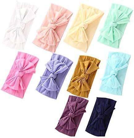 Baby Nylon Headbands Hairbands Hair Bow Elastics for Baby Girls Newborn Infant Toddlers Kids (Super soft-O)