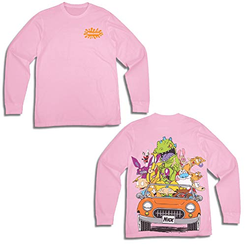 Nickelodeon Mens Long Sleeve Shirt - #TBT Mens 1990's Clothing - Rugrats, Hey Arnold, Ren and Stimpy (Light Pink, -