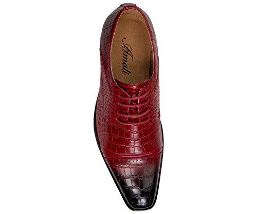 Amali Heren Oxford Kleding Schoenen Met Zigzag Stiksels En Exotische Krokodil Ontwerpt Stijlen Tomaso, Eberly Rood / Croco-print