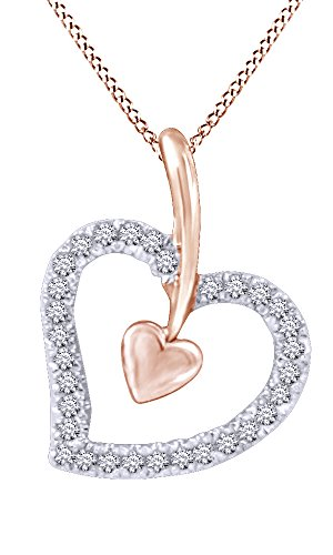 Jewel Zone US 1/10 Ct Natural Diamond Heart Shaped Pendant Necklace in 14k Rose Gold Over Sterling Silver ()
