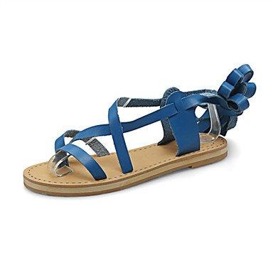 LvYuan Tacón Plano-Confort Innovador Zapatos del club-Sandalias-Oficina y Trabajo Vestido Informal-Semicuero-Negro Azul Marrón Blanco White