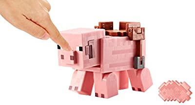 Minecraft Saddled Pig with Launching Pork Chop Figure - Series 5 from Mattel